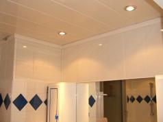 Plafond de salle de bains en lambris de pvc