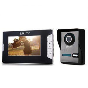 SUNLUXY-Portier-Interphone-Visiophone-Carillon-Electronique-Sonnette-Porte-Camra-de-Surveillance-IR-Vision-Nocturne-Moniteur-7-TFT-LCD-16-Mlodie-Vido-Scurit-Maison-0