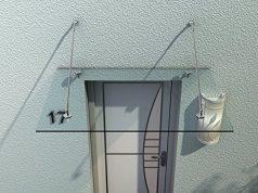 Auvent marquise de porte d'entrée verre trempé transparent