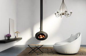 cheminée suspendue bois