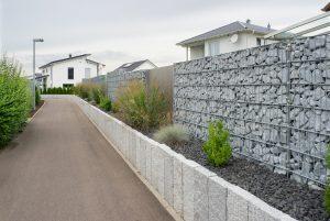 mur de coture gabion beton bois