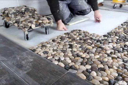 pose de galets au sol