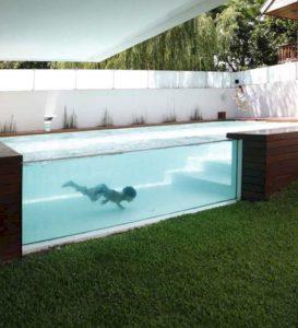 paroi transparente piscine