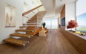 escalier suspendu droit bois